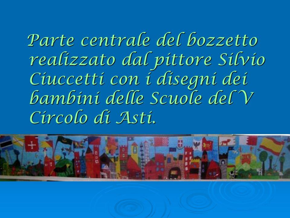 Parte centrale del bozzetto realizzato dal pittore Silvio Ciuccetti con i disegni dei bambini delle Scuole del V Circolo di Asti. Parte centrale del b