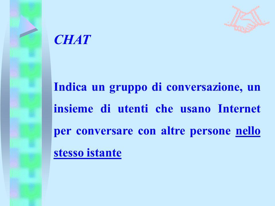 Indica un gruppo di conversazione, un insieme di utenti che usano Internet per conversare con altre persone nello stesso istante CHAT