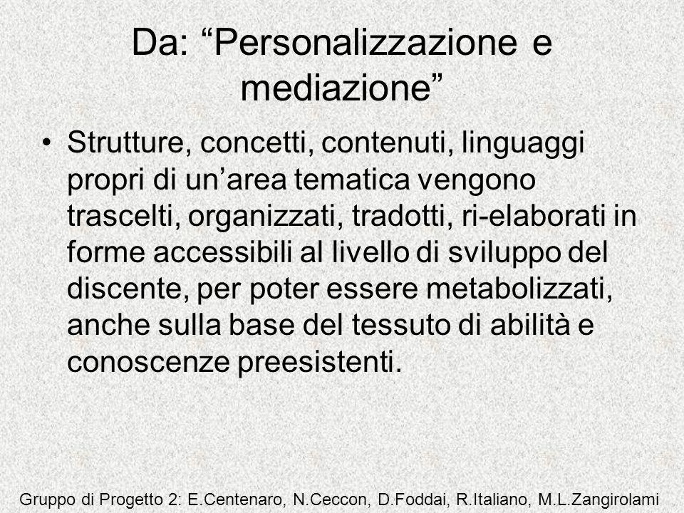 Da: Personalizzazione e mediazione Strutture, concetti, contenuti, linguaggi propri di unarea tematica vengono trascelti, organizzati, tradotti, ri-el