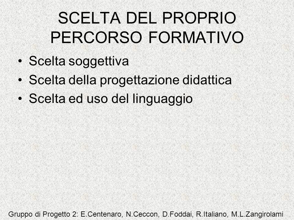 SCELTA DEL PROPRIO PERCORSO FORMATIVO Scelta soggettiva Scelta della progettazione didattica Scelta ed uso del linguaggio Gruppo di Progetto 2: E.Cent