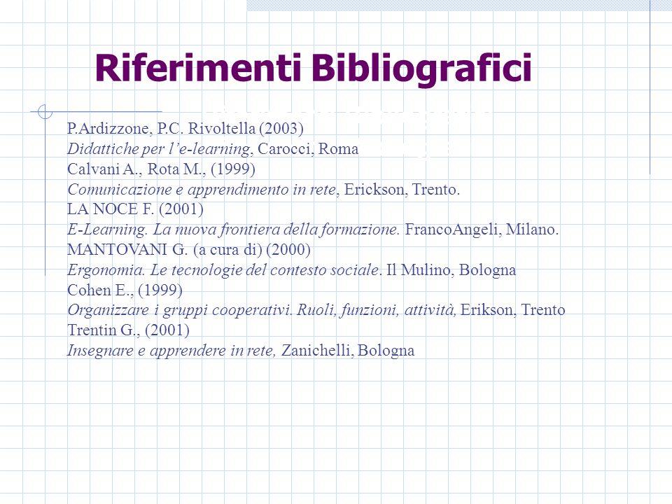 Riferimenti Bibliografici Riferimenti Bibliografici P.Ardizzone, P.C.