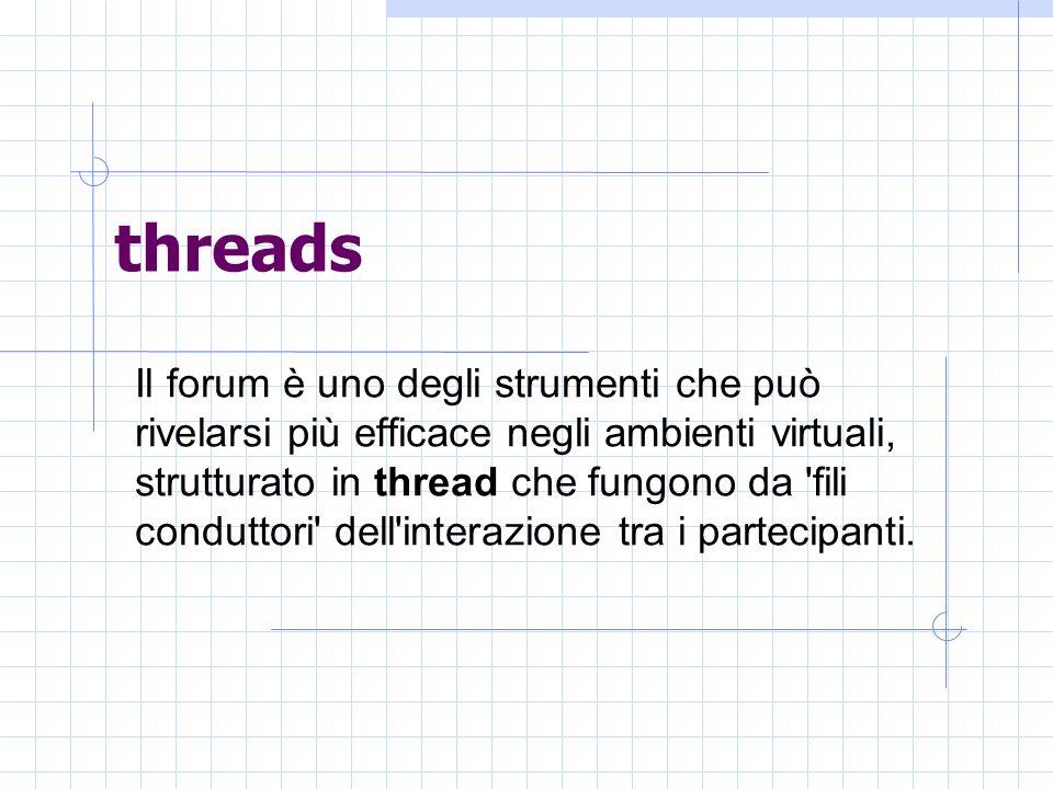 threads Il forum è uno degli strumenti che può rivelarsi più efficace negli ambienti virtuali, strutturato in thread che fungono da fili conduttori dell interazione tra i partecipanti.