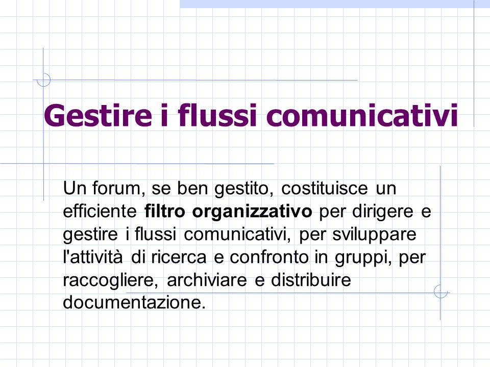 Gestire i flussi comunicativi Un forum, se ben gestito, costituisce un efficiente filtro organizzativo per dirigere e gestire i flussi comunicativi, per sviluppare l attività di ricerca e confronto in gruppi, per raccogliere, archiviare e distribuire documentazione.