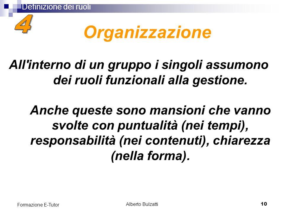 Alberto Bulzatti10 Formazione E-Tutor All interno di un gruppo i singoli assumono dei ruoli funzionali alla gestione.