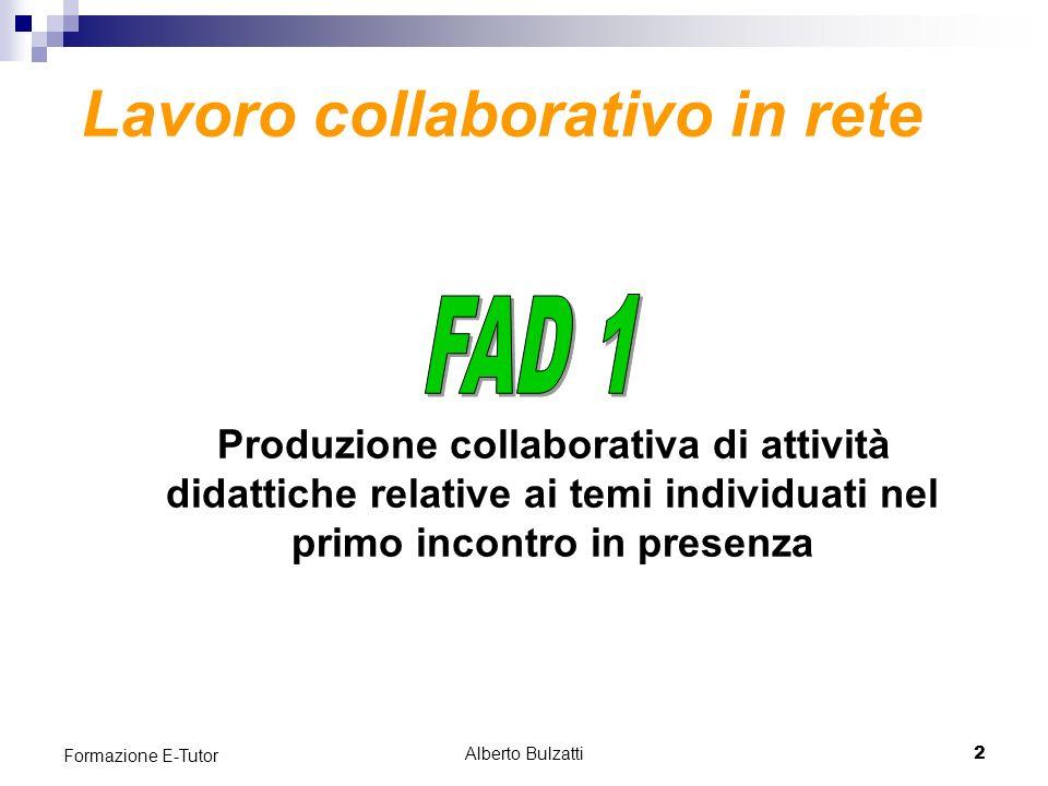 Alberto Bulzatti2 Formazione E-Tutor Produzione collaborativa di attività didattiche relative ai temi individuati nel primo incontro in presenza Lavoro collaborativo in rete