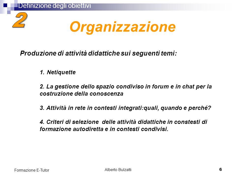 Alberto Bulzatti6 Formazione E-Tutor 1. Netiquette 2.