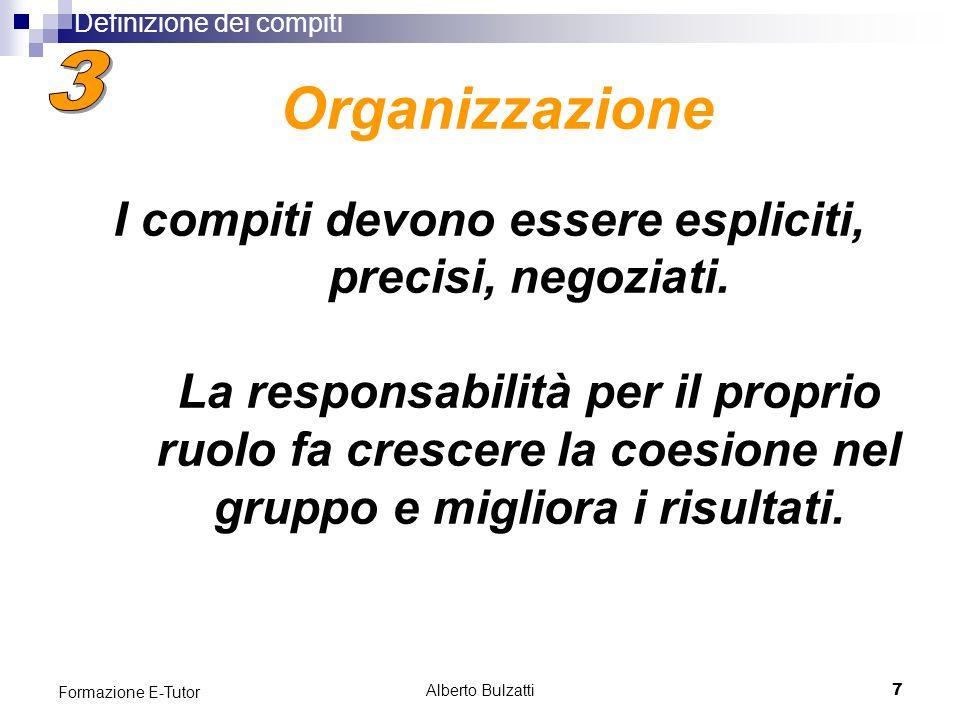 Alberto Bulzatti7 Formazione E-Tutor I compiti devono essere espliciti, precisi, negoziati.