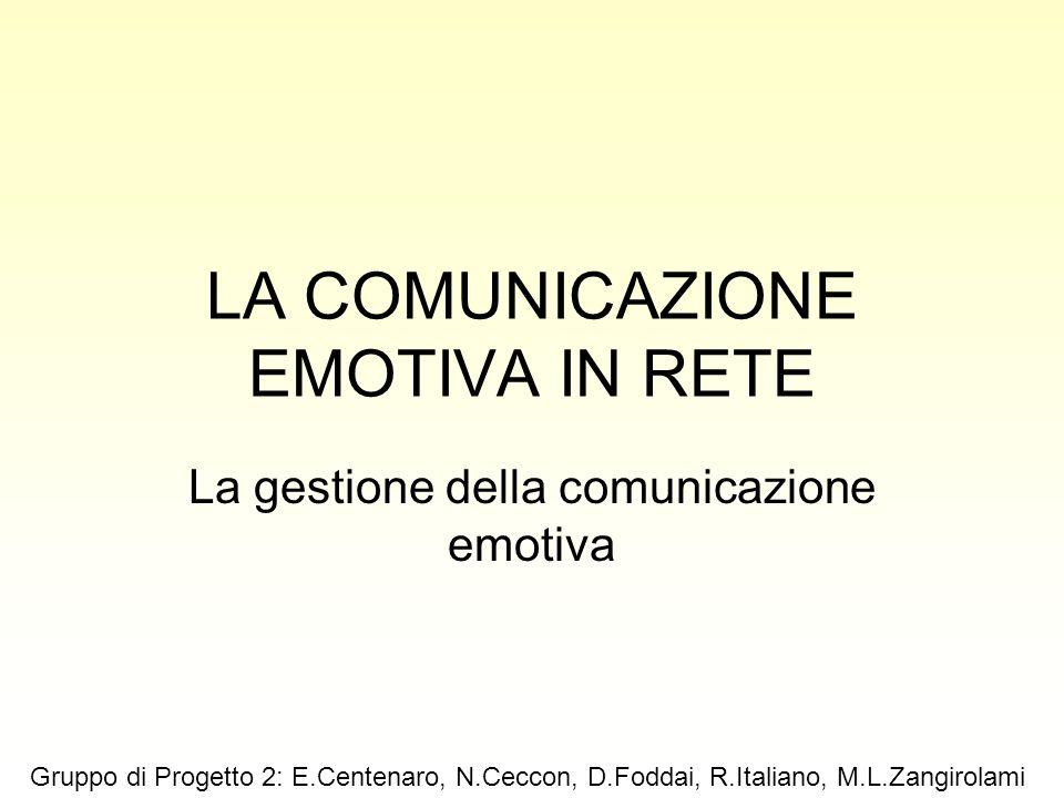 LA COMUNICAZIONE EMOTIVA IN RETE La gestione della comunicazione emotiva Gruppo di Progetto 2: E.Centenaro, N.Ceccon, D.Foddai, R.Italiano, M.L.Zangir