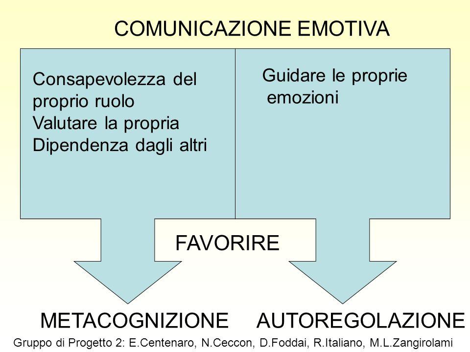 FAVORIRE AUTOREGOLAZIONEMETACOGNIZIONE Guidare le proprie emozioni Consapevolezza del proprio ruolo Valutare la propria Dipendenza dagli altri COMUNIC