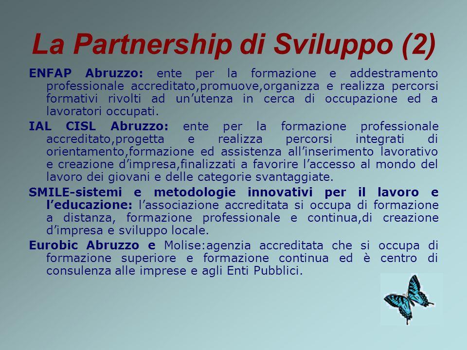 La Partnership di Sviluppo (2) ENFAP Abruzzo: ente per la formazione e addestramento professionale accreditato,promuove,organizza e realizza percorsi formativi rivolti ad unutenza in cerca di occupazione ed a lavoratori occupati.