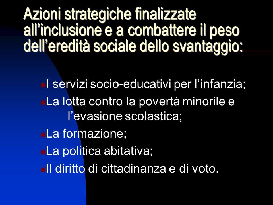 Azioni strategiche finalizzate allinclusione e a combattere il peso delleredità sociale dello svantaggio: I servizi socio-educativi per linfanzia; La