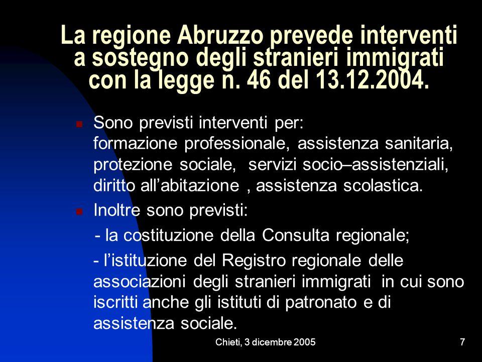 Chieti, 3 dicembre 20057 La regione Abruzzo prevede interventi a sostegno degli stranieri immigrati con la legge n. 46 del 13.12.2004. Sono previsti i