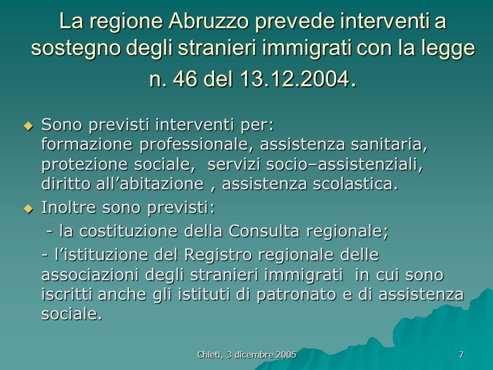 Chieti, 3 dicembre 2005 7 La regione Abruzzo prevede interventi a sostegno degli stranieri immigrati con la legge n.