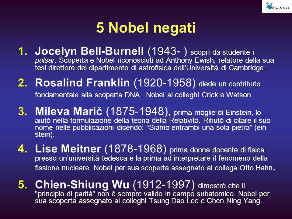 5 Nobel negati 1.Jocelyn Bell-Burnell (1943- ) scoprì da studente i pulsar. Scoperta e Nobel riconosciuti ad Anthony Ewish, relatore della sua tesi di