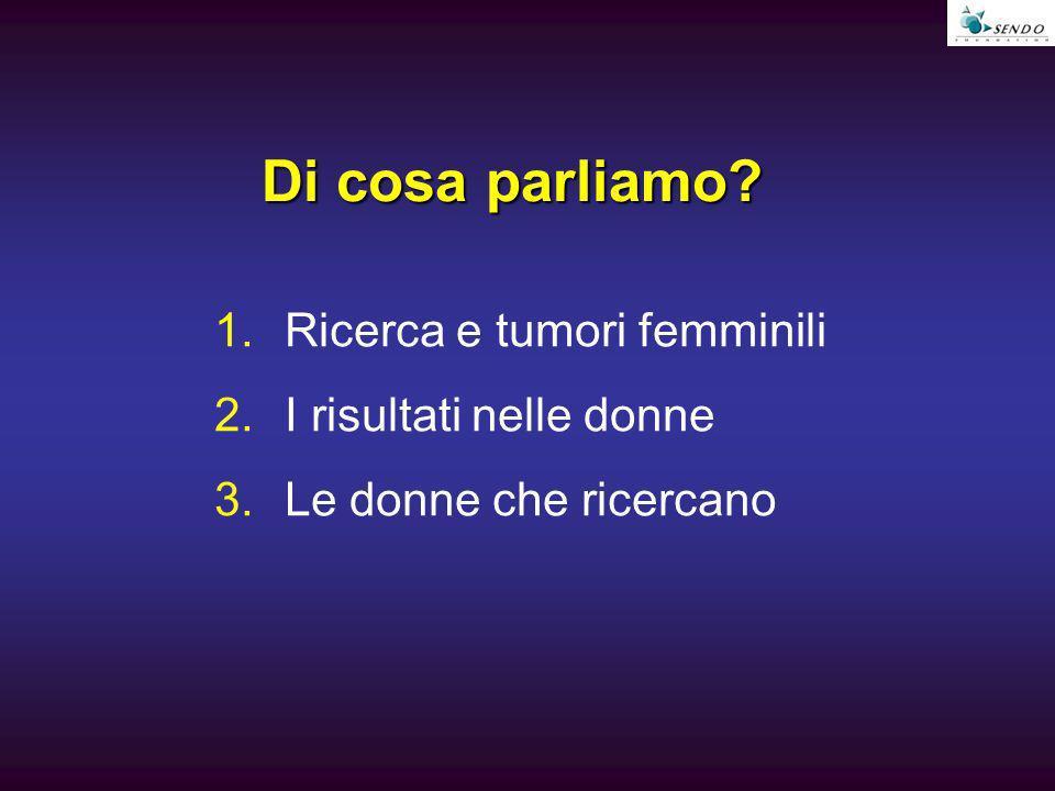Di cosa parliamo? 1.Ricerca e tumori femminili 2.I risultati nelle donne 3.Le donne che ricercano