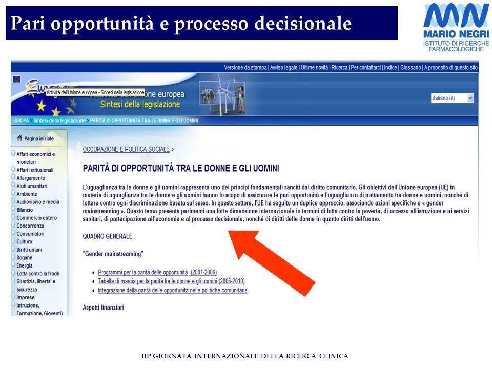 III a GIORNATA INTERNAZIONALE DELLA RICERCA CLINICA Pari opportunità e processo decisionale
