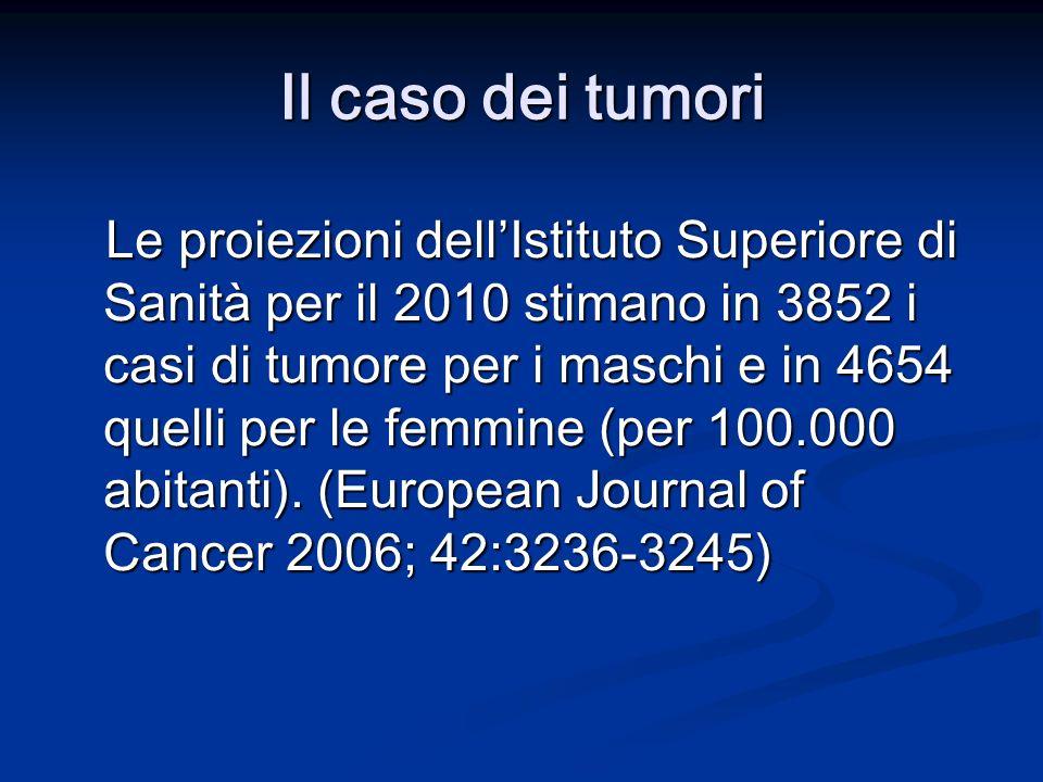 Il caso dei tumori Le proiezioni dellIstituto Superiore di Sanità per il 2010 stimano in 3852 i casi di tumore per i maschi e in 4654 quelli per le femmine (per 100.000 abitanti).
