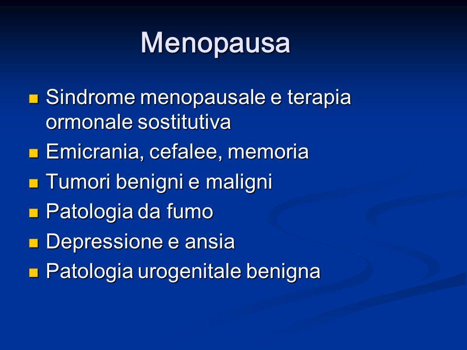 Menopausa Sindrome menopausale e terapia ormonale sostitutiva Sindrome menopausale e terapia ormonale sostitutiva Emicrania, cefalee, memoria Emicrania, cefalee, memoria Tumori benigni e maligni Tumori benigni e maligni Patologia da fumo Patologia da fumo Depressione e ansia Depressione e ansia Patologia urogenitale benigna Patologia urogenitale benigna