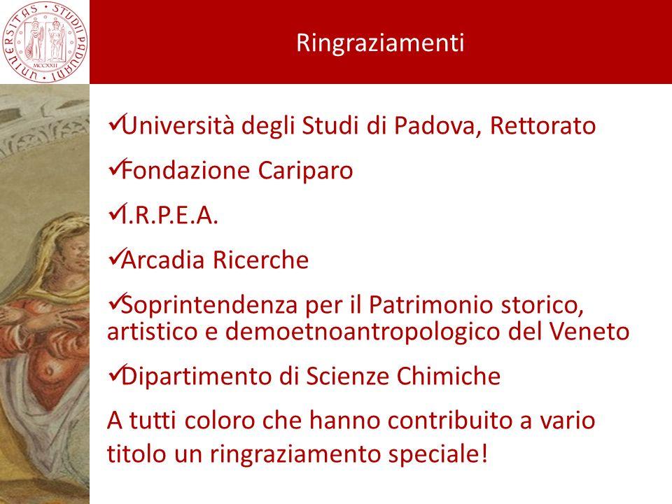 Università degli Studi di Padova, Rettorato Fondazione Cariparo I.R.P.E.A. Arcadia Ricerche Soprintendenza per il Patrimonio storico, artistico e demo