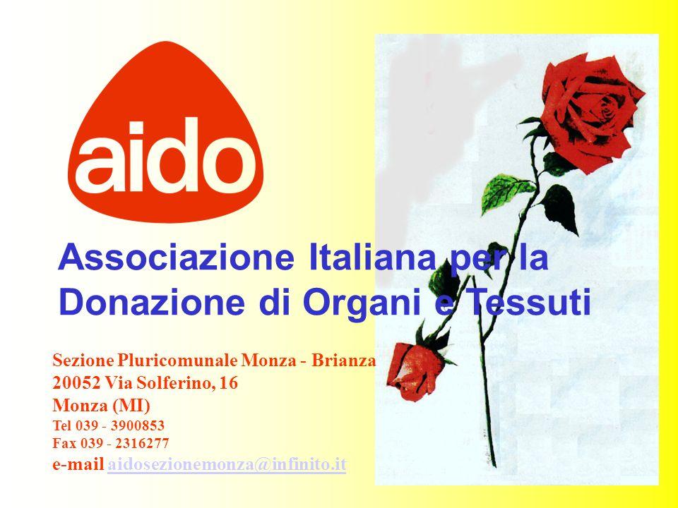 1 Associazione Italiana per la Donazione di Organi e Tessuti Sezione Pluricomunale Monza - Brianza 20052 Via Solferino, 16 Monza (MI) Tel 039 - 390085