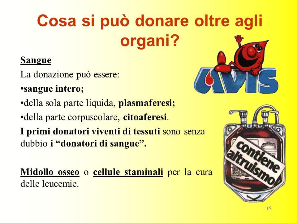 15 Cosa si può donare oltre agli organi? Sangue La donazione può essere: sangue intero; della sola parte liquida, plasmaferesi; della parte corpuscola