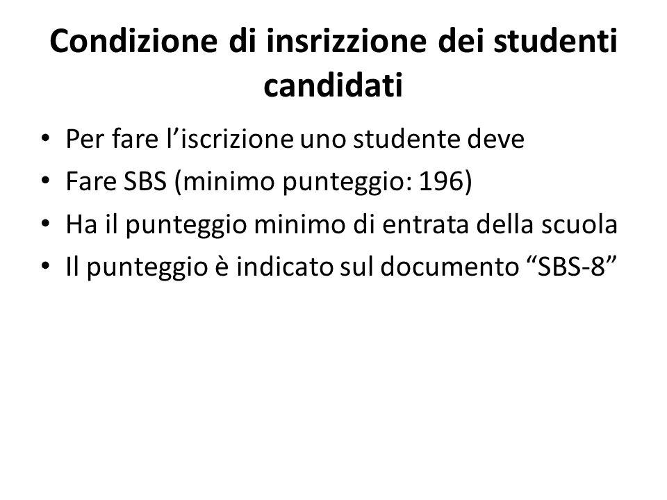 Condizione di insrizzione dei studenti candidati Per fare liscrizione uno studente deve Fare SBS (minimo punteggio: 196) Ha il punteggio minimo di entrata della scuola Il punteggio è indicato sul documento SBS-8