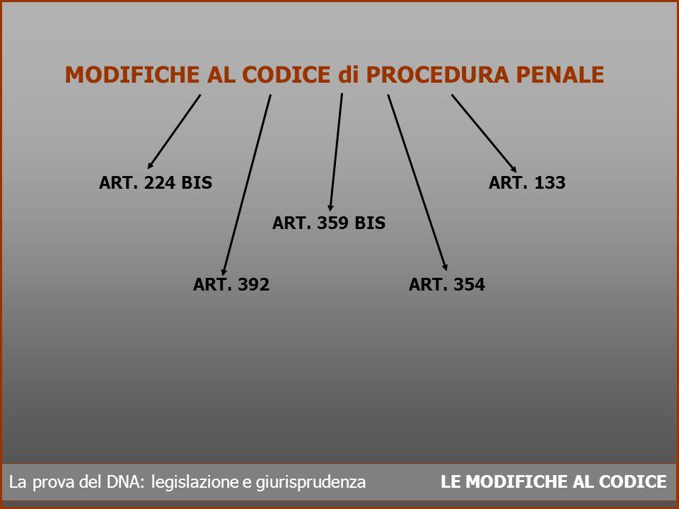 La prova del DNA: legislazione e giurisprudenza LE MODIFICHE AL CODICE MODIFICHE AL CODICE di PROCEDURA PENALE ART. 224 BIS ART. 133 ART. 359 BIS ART.