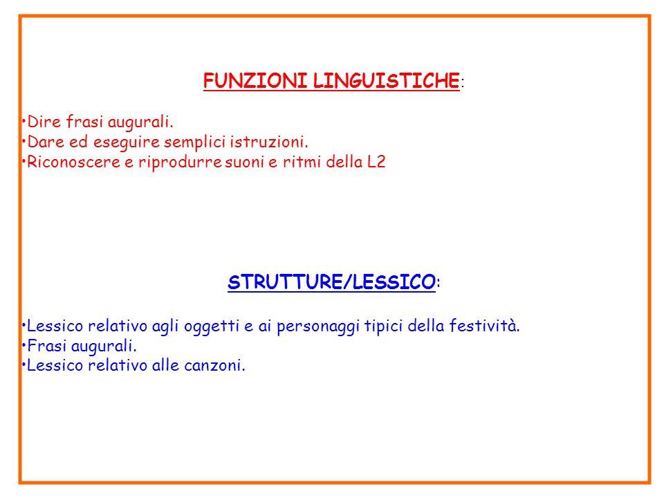 FUNZIONI LINGUISTICHE : Dire frasi augurali. Dare ed eseguire semplici istruzioni. Riconoscere e riprodurre suoni e ritmi della L2 STRUTTURE/LESSICO:
