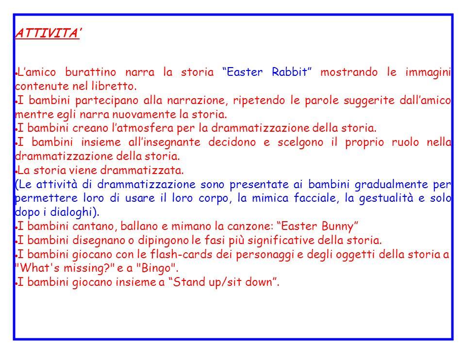 ATTIVITA Lamico burattino narra la storia Easter Rabbit mostrando le immagini contenute nel libretto. I bambini partecipano alla narrazione, ripetendo
