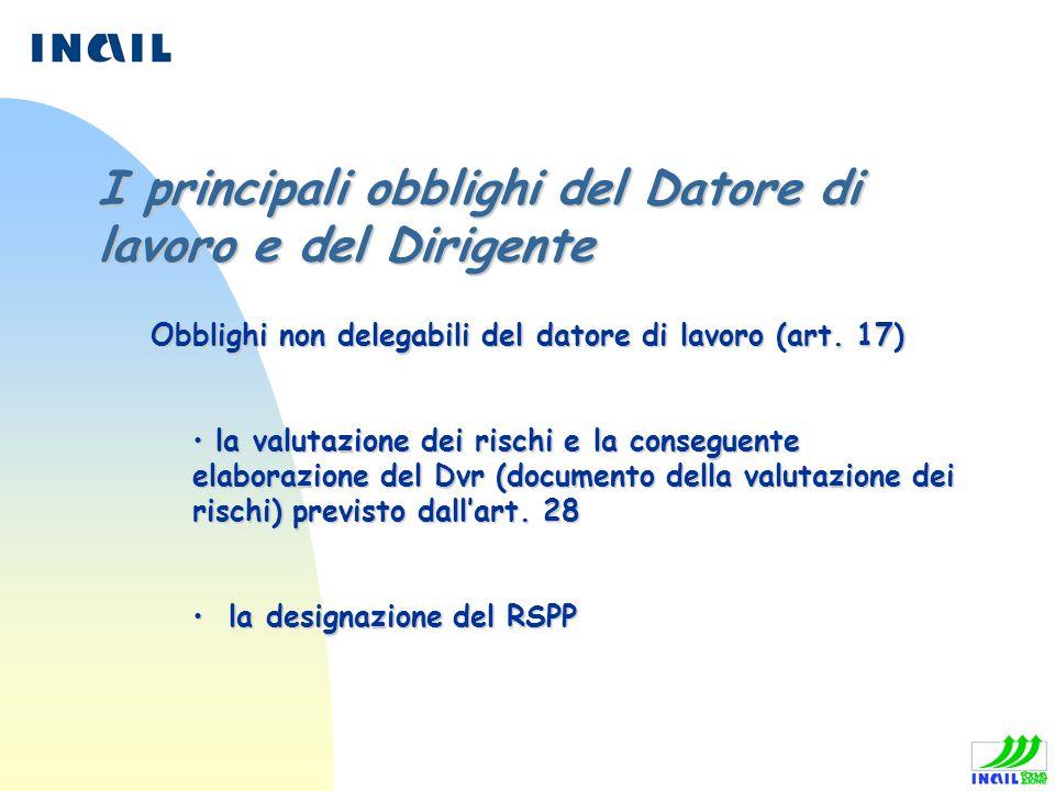 Obblighi non delegabili del datore di lavoro (art. 17) Obblighi non delegabili del datore di lavoro (art. 17) la valutazione dei rischi e la conseguen