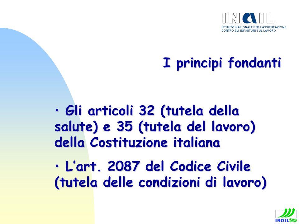 I principi fondanti Gli articoli 32 (tutela della salute) e 35 (tutela del lavoro) della Costituzione italiana Gli articoli 32 (tutela della salute) e