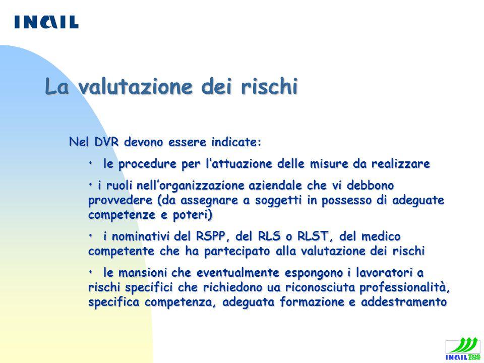 Nel DVR devono essere indicate: Nel DVR devono essere indicate: le procedure per lattuazione delle misure da realizzare le procedure per lattuazione d
