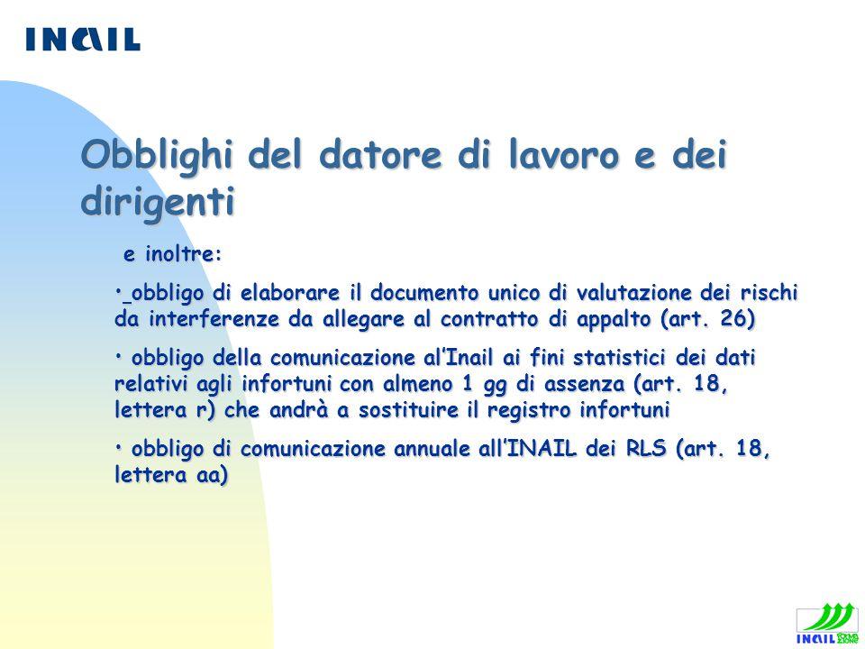 e inoltre: e inoltre: obbligo di elaborare il documento unico di valutazione dei rischi da interferenze da allegare al contratto di appalto (art. 26)