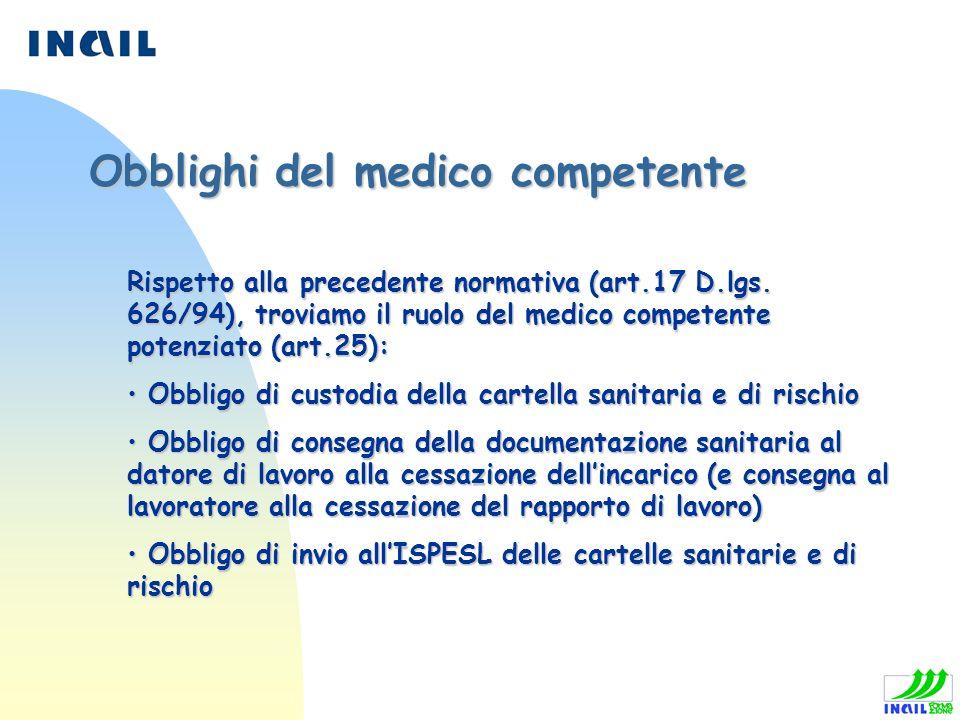 Rispetto alla precedente normativa (art.17 D.lgs. 626/94), troviamo il ruolo del medico competente potenziato (art.25): Obbligo di custodia della cart