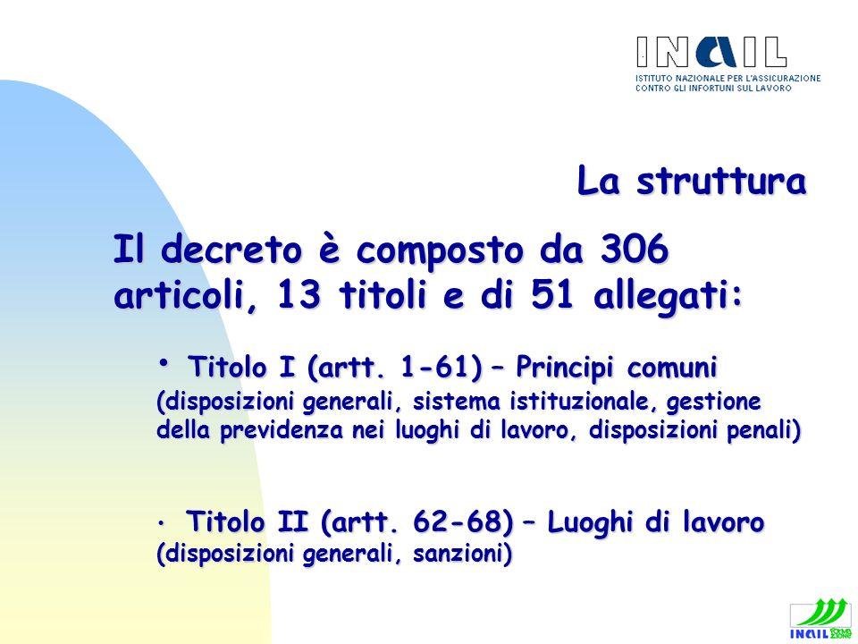 La struttura Il decreto è composto da 306 articoli, 13 titoli e di 51 allegati: Titolo I (artt. 1-61) – Principi comuni (disposizioni generali, sistem