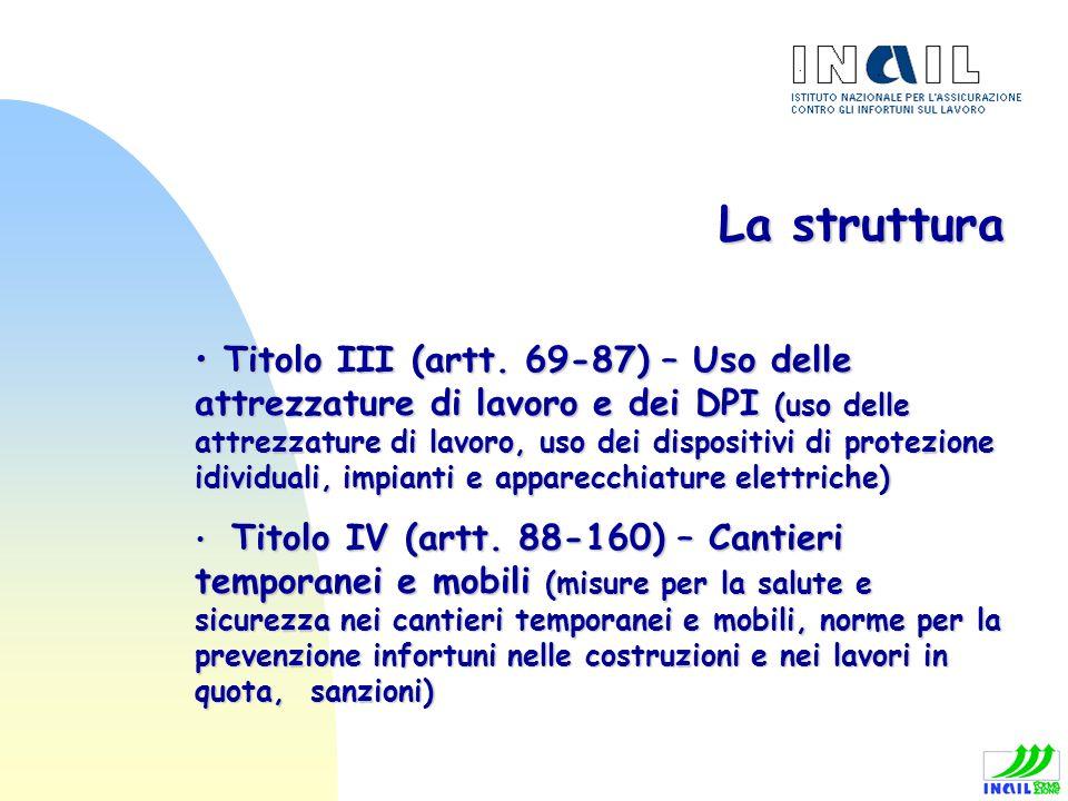 La struttura Titolo III (artt. 69-87) – Uso delle attrezzature di lavoro e dei DPI (uso delle attrezzature di lavoro, uso dei dispositivi di protezion