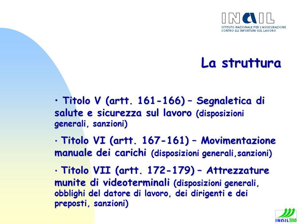 La struttura Titolo V (artt. 161-166) – Segnaletica di salute e sicurezza sul lavoro (disposizioni generali, sanzioni) Titolo V (artt. 161-166) – Segn