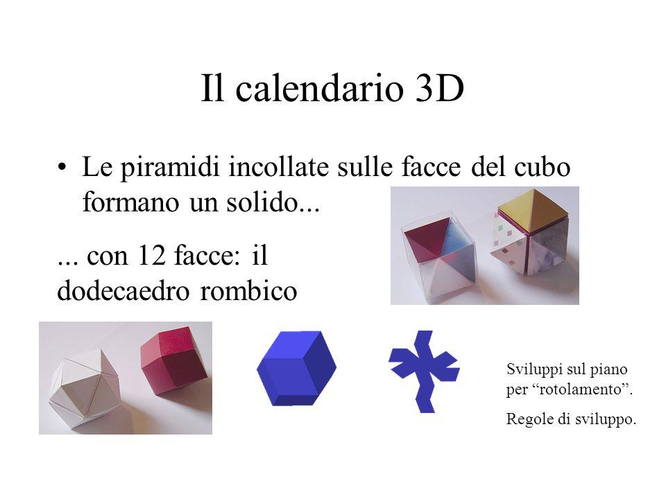 Il calendario 3D Le piramidi incollate sulle facce del cubo formano un solido...... con 12 facce: il dodecaedro rombico Sviluppi sul piano per rotolam