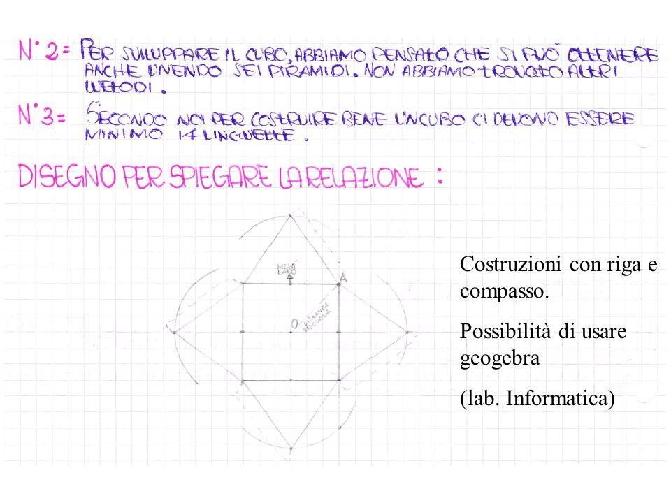 Costruzioni con riga e compasso. Possibilità di usare geogebra (lab. Informatica)