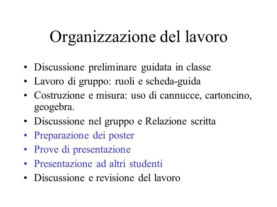 Organizzazione del lavoro Discussione preliminare guidata in classe Lavoro di gruppo: ruoli e scheda-guida Costruzione e misura: uso di cannucce, cart