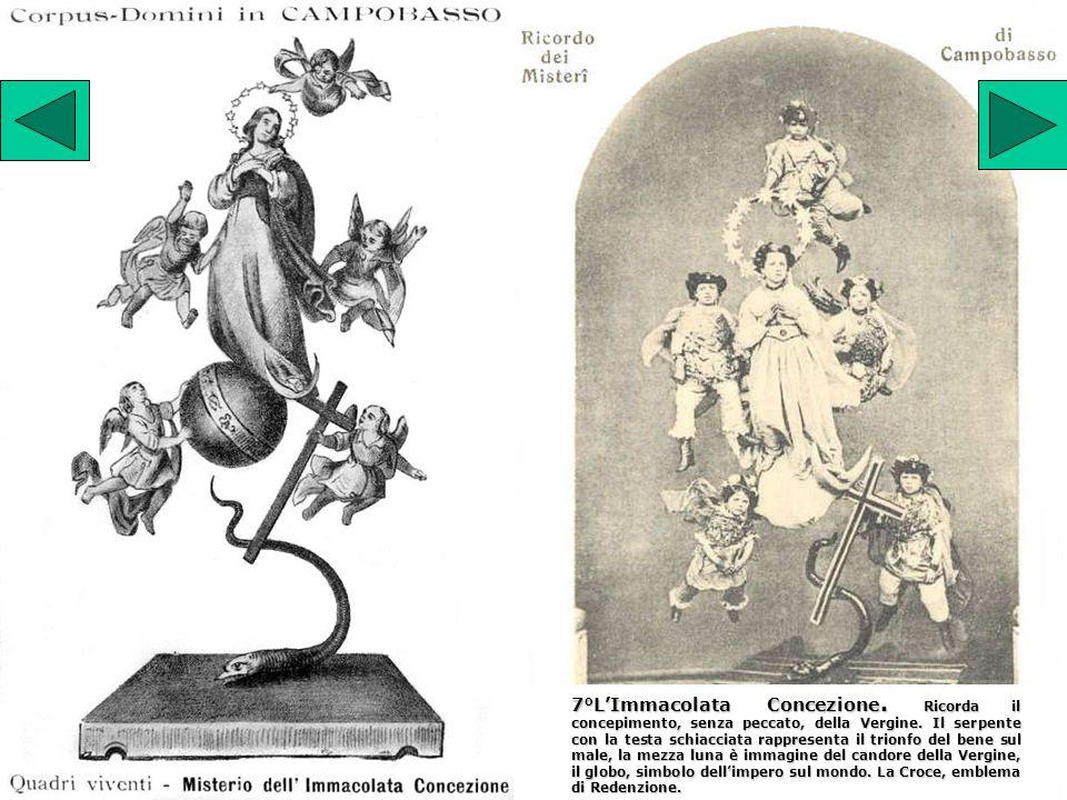 7°LImmacolata Concezione. Ricorda il concepimento, senza peccato, della Vergine. Il serpente con la testa schiacciata rappresenta il trionfo del bene