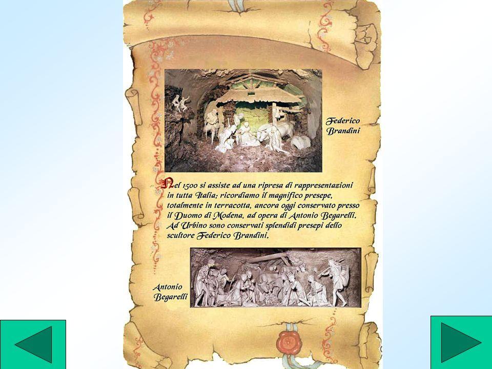 Giovanni Merliano, detto anche Giovanni da Nola, del 1520, in alcune composizioni presepiali, utilizzò vestigia classiche al posto della tradizionale grotta, introducendo una soluzione scenografica ripresa due secoli dopo, sotto linflusso dei ritrovamenti archeologici di Ercolano e Pompei..