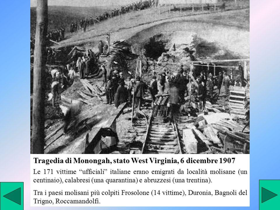 Le 171 vittime ufficiali italiane erano emigrati da località molisane (un centinaio), calabresi (una quarantina) e abruzzesi (una trentina). Tra i pae