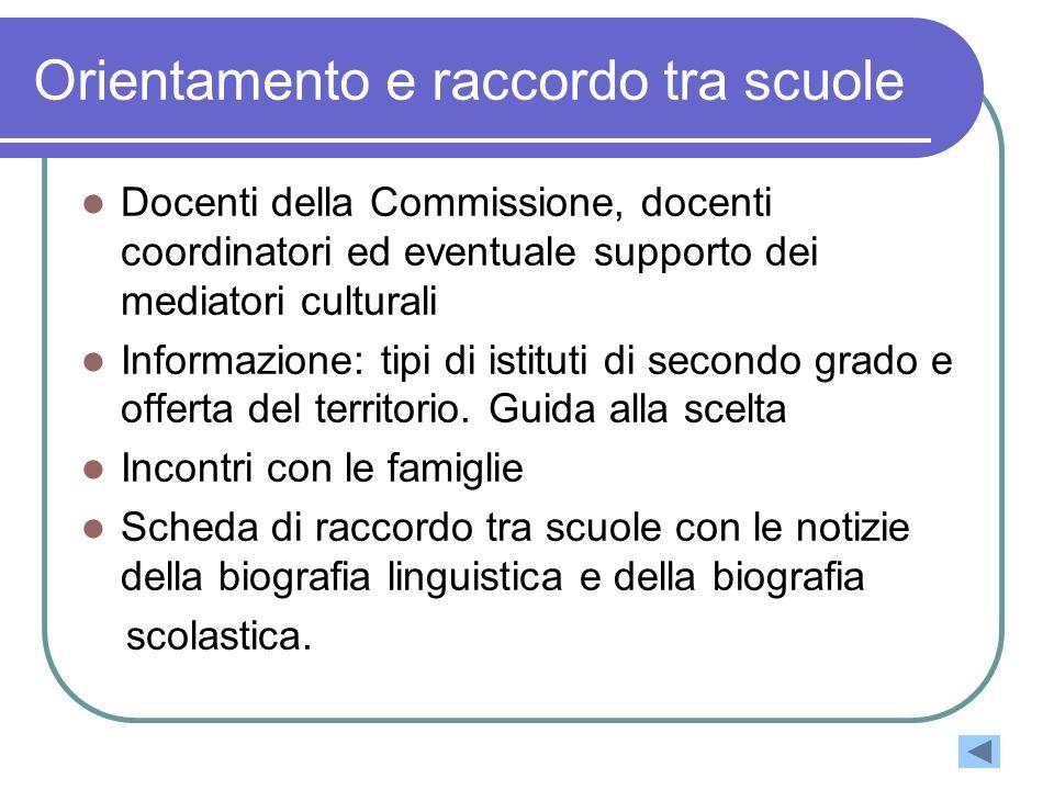 Orientamento e raccordo tra scuole Docenti della Commissione, docenti coordinatori ed eventuale supporto dei mediatori culturali Informazione: tipi di