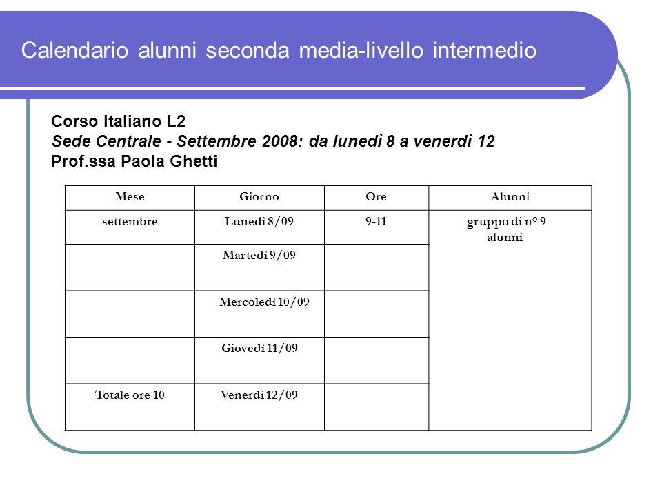 Calendario alunni seconda media-livello intermedio Corso Italiano L2 Sede Centrale - Settembre 2008: da lunedì 8 a venerdì 12 Prof.ssa Paola Ghetti Me