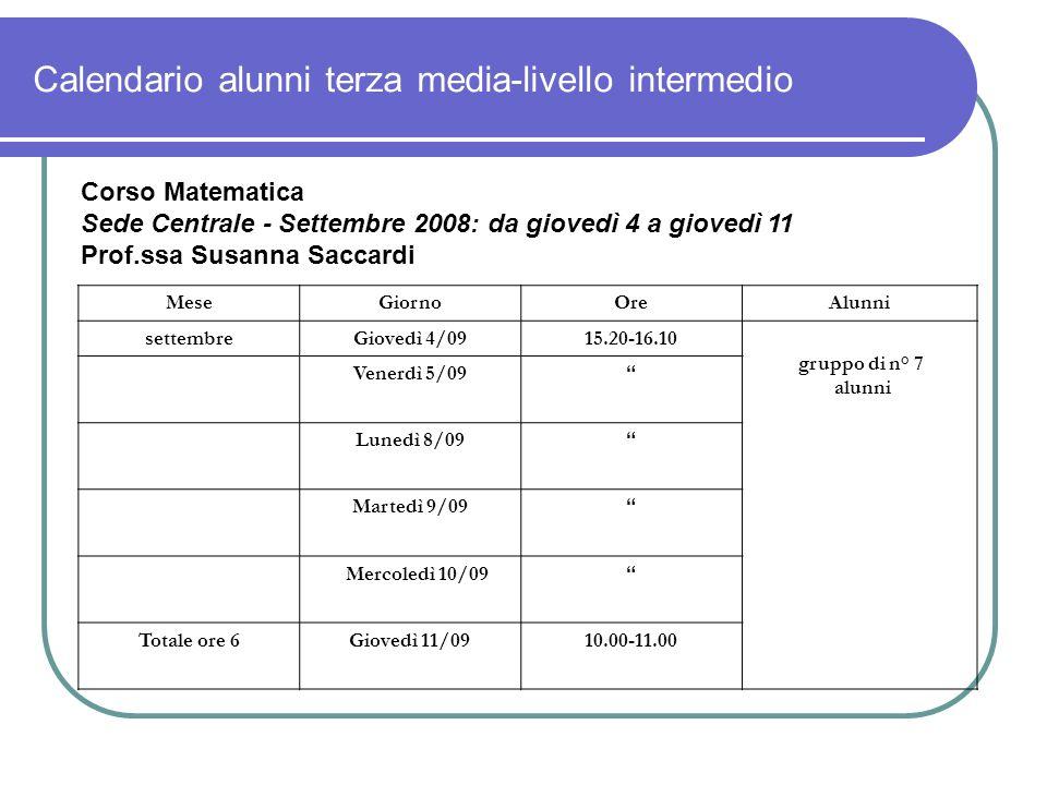 Calendario alunni terza media-livello intermedio Corso Matematica Sede Centrale - Settembre 2008: da giovedì 4 a giovedì 11 Prof.ssa Susanna Saccardi