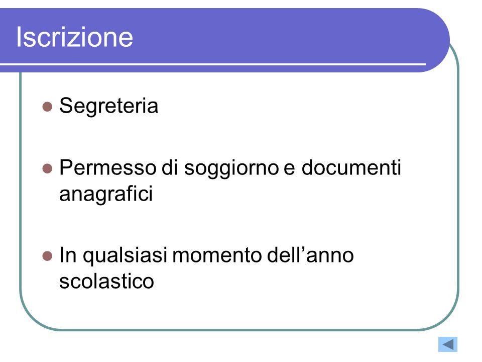 Iscrizione Segreteria Permesso di soggiorno e documenti anagrafici In qualsiasi momento dellanno scolastico