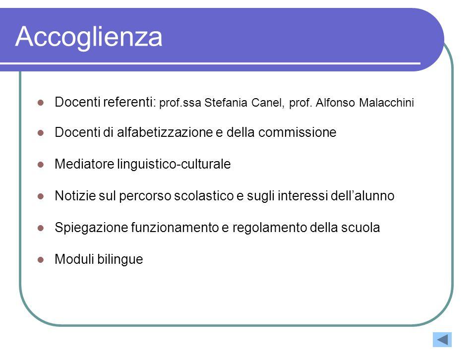 Accoglienza Docenti referenti: prof.ssa Stefania Canel, prof. Alfonso Malacchini Docenti di alfabetizzazione e della commissione Mediatore linguistico