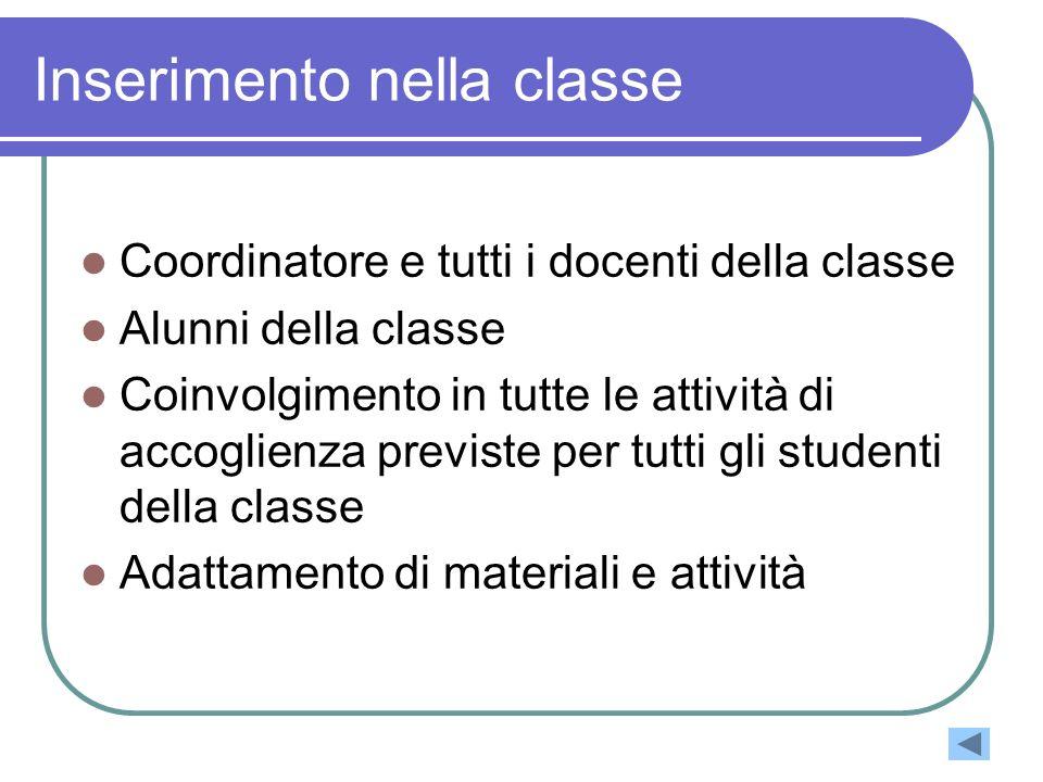 Inserimento nella classe Coordinatore e tutti i docenti della classe Alunni della classe Coinvolgimento in tutte le attività di accoglienza previste p
