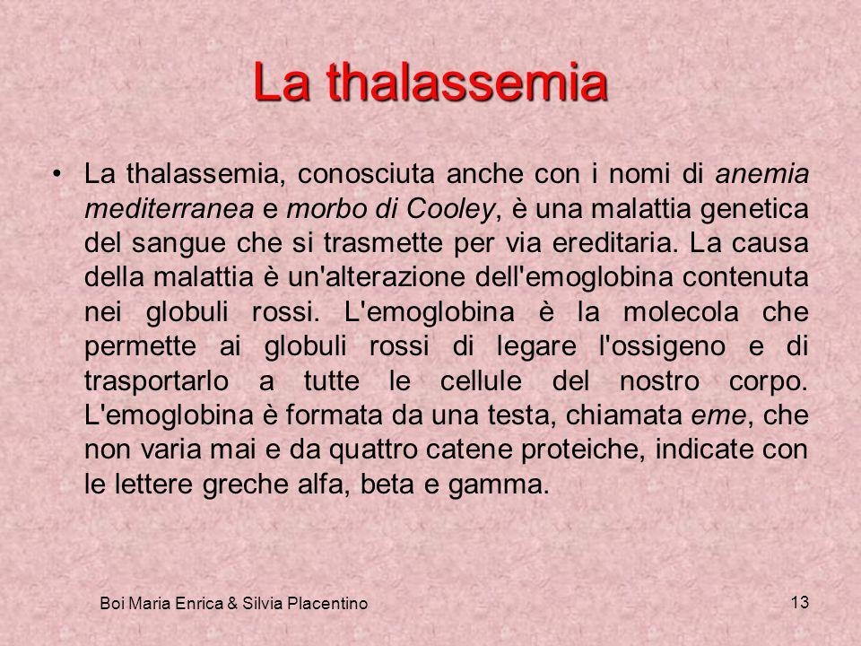 Boi Maria Enrica & Silvia Placentino 13 La thalassemia La thalassemia, conosciuta anche con i nomi di anemia mediterranea e morbo di Cooley, è una mal